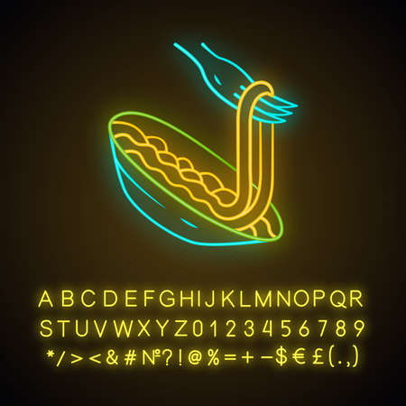 Pasta on fork neon light icon. Spaghetti, macaroni, noodle. Traditional italian food. Natural eating. Restaurant menu. Glowing sign with alphabet, numbers and symbols. Vector isolated illustration