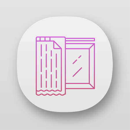 Liner shades app icon. House and office furnishing. Home interior design. Window coverings, treatments. Blackout liner. UIUX user interface. Web or mobile applications. Vector isolated illustrations Illusztráció