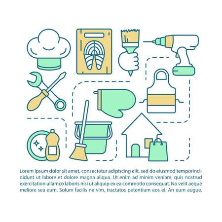 Modèle vectoriel de page d'article de services à domicile. Nettoyage, cuisine, réparation. Brochure, magazine, élément de conception de livret avec icônes linéaires et zones de texte. Design d'impression. Illustrations de concept avec espace de texte Vecteurs