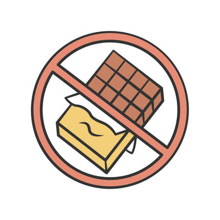 Chocolate free product color icon. No sugar, sweetener and glucose sign. Zero calories, diabetic diet, healthy eating. Sweets, junk food refuse. No chocolate bar isolated vector illustration Ilustração