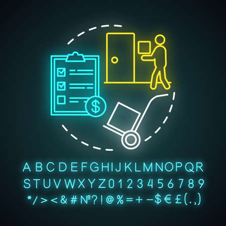 Moving help neon light concept icon. Home service idea. Packing and unpacking boxes. Loading items, furniture into truck. Glowing sign with alphabet, numbers and symbols. Vector isolated illustration