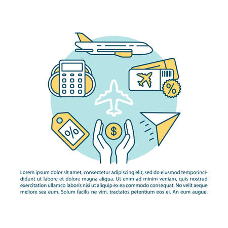 Cheap flight article page vector template. Airline last minute tickets. Brochure, magazine, booklet design element with linear icons and text boxes. Print design. Concept illustrations with text space