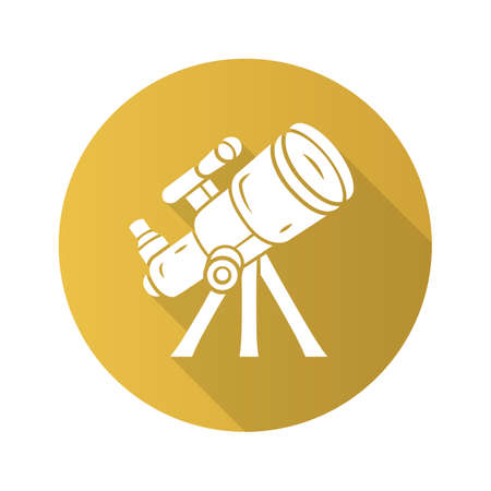Telescope flat design long shadow glyph icon. Optical instrument for star observation. Moon, planets exploration. Spyglass on tripod. Astronomy, astrophysics, astrology. Vector silhouette illustration Çizim