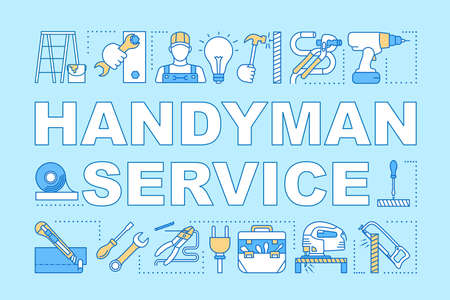 Handyman service word concepts banner. Home repair. Broken things fix. House maintenance. Presentation, website. Isolated lettering typography idea with linear icons. Vector outline illustration