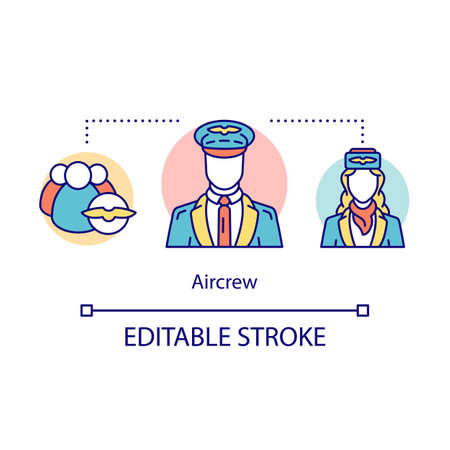 Aircrew concept icon. Aircraft workers idea thin line illustration. Cabin crew uniforms. Pilots and stewardesses. Airline personnel, employee. Vector isolated outline drawing. Editable stroke