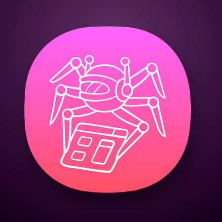 Crawler app icon. Spiderbot. Search engine optimization. Automatic indexer. Content monitoring. Artificial intelligence. UI/UX user interface. Web or mobile application. Vector isolated illustration Vectores