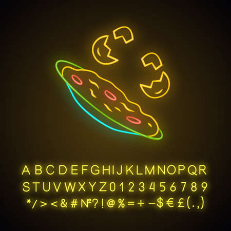Omelette neon light icon. Fast cooking dish. Restaurant, cafe breakfast menu. Scrambled, fried eggs. Farming product. Glowing sign with alphabet, numbers and symbols. Vector isolated illustration