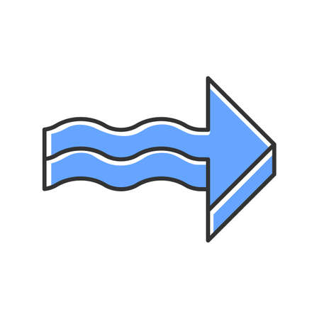 Blue 3d wavy arrow color icon. Rightwards direction. Indicating arrowhead. Sign pointing to right. Navigation pointer, indicator symbol. Direction move. Indicating symbol. Isolated vector illustration