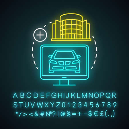 Add hotel and car neon light icon. Vacation options. Journey and travel. Accommodation booking, comfortable holidays. Glowing sign with alphabet, numbers and symbols. Vector isolated illustration