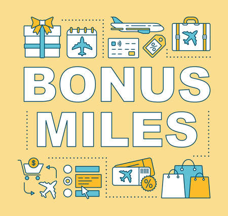 Bonus miles word concepts banner. Earn air miles. Low cost flights. Discount tickets. Presentation, website. Isolated lettering typography idea with linear icons. Vector outline illustration Vector Illustration