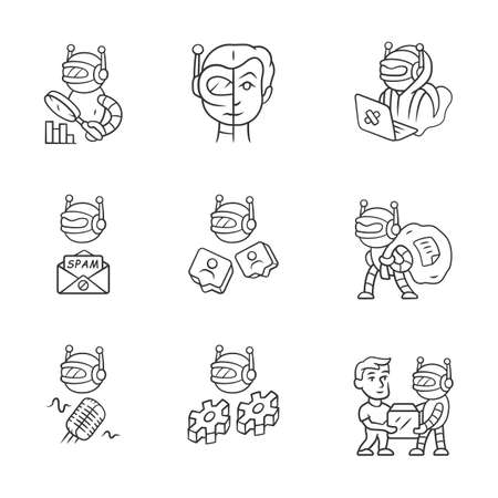 Internet bots linear icons set. Hacker, voice, spam, impersonator, scraper robots. Artificial intelligence. Cyborgs. Thin line contour symbols. Isolated vector outline illustrations. Editable stroke Illusztráció
