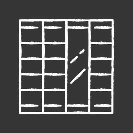Shoji panels chalk icon. Traditional Japanese door, window, room divider. Oriental furniture. Home interior design. Living room, bedroom decoration. Isolated vector chalkboard illustration Illusztráció