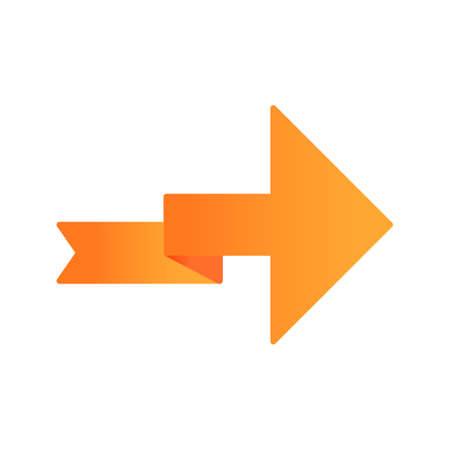 Orange arrow with folding line flat design long shadow color icon. Right turning arrowhead. Next ribbon arrow. Navigation symbol. Direction indicator. Motion designator. Vector silhouette illustration