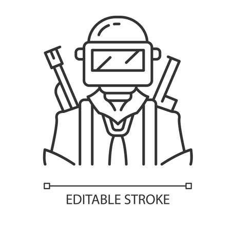 Game soldier linear icon. Player with weapon in safety gear. Player in protective helmet with guns. Thin line illustration. Contour symbol. Vector isolated outline drawing. Editable stroke Illustration