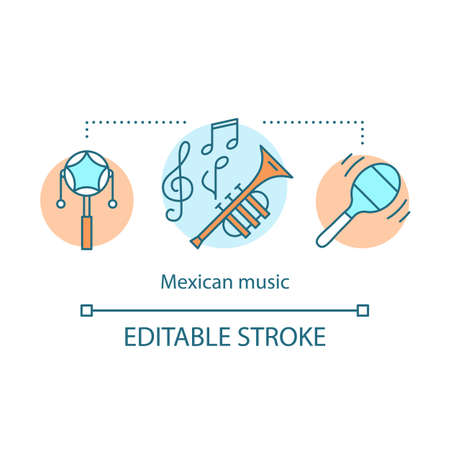Mexican music concept icon. South American traditional music. Pellet drum, maraca, trumpet. Wind and noise instruments idea thin line illustration. Vector isolated outline drawing. Editable stroke Иллюстрация
