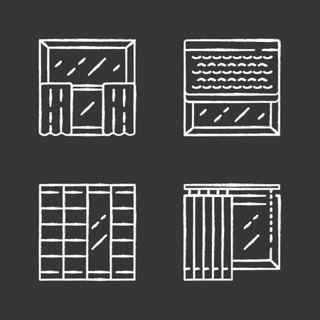Window decoration chalk icons set. Cafe curtains, vertical blinds, woven wood shades, shoji panels. Home and office decoration. Shop interior design. Isolated vector chalkboard illustrations