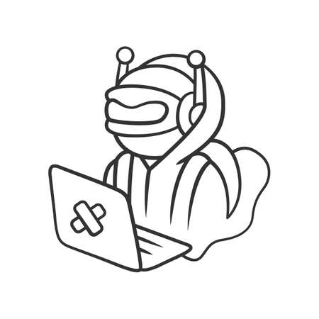 Hacker bot linear icon. Virus robot. Cyber pirate attack, crime, cybercrime. Malicious computer virus, AI. Thin line illustration. Contour symbol. Vector isolated outline drawing. Editable stroke Ilustração