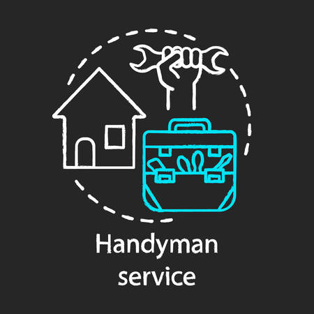 Handyman service chalk concept icon. Home service idea. Home repair. Broken windows and electric lamps fix. House maintenance. Vector isolated chalkboard illustration