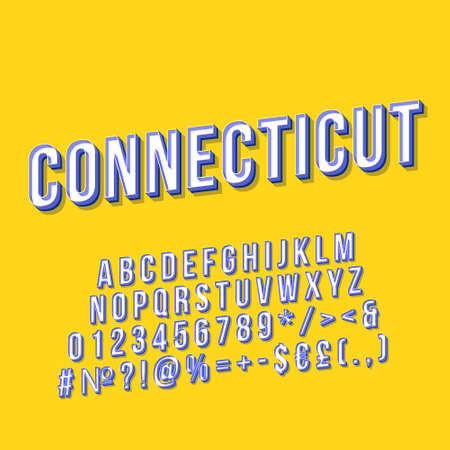 Connecticut vintage 3d vector lettering. Retro bold font, typeface. Pop art stylized text. Old school style letters, numbers, symbols, elements pack. 90s, 80s poster, banner. Mustard color background Illustration