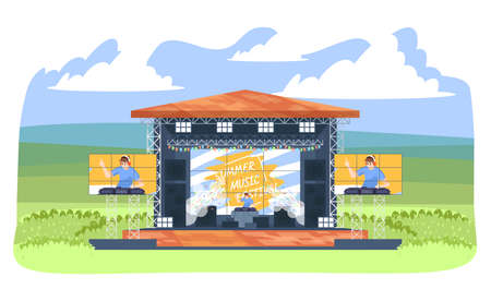 Summer DJ music festival flat vector illustration. Electronic musicfest. Turntablist creating new mix. Dance music open air live performance. Disc jockey on outdoor stage cartoon character