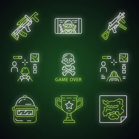 Online game inventory neon light icons set. Esports, cybersports. Weapon, gun, 3d and from first person shooter, game over, trophy, helmet, mobile game. Glowing signs. Vector isolated illustrations