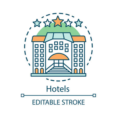 Hotels concept icon. Guesthouse, hostel idea thin line illustration. Holidays stay in hotel. Traveler and tourist accommodation, apartment, motel. Vector isolated outline drawing. Editable stroke
