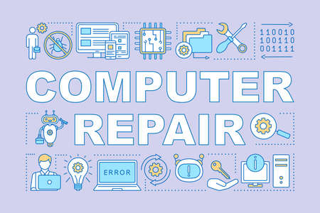 Computer repair word concepts banner. Operating system reinstall. Laptop refit. Presentation, website. Isolated lettering typography idea with linear icons. Vector outline illustration