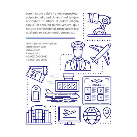 Airline Article Page Vector Template  Tourism And Travel