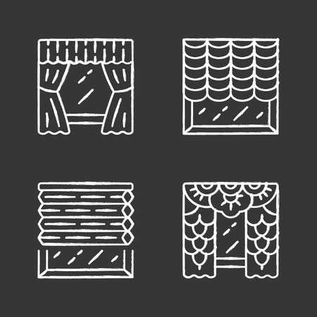 Window blinds chalk icons set. Austrian, cellular shades, lace curtains, window treatment set. Room darkening decoration. House decor. Office interior design. Isolated vector chalkboard illustrations