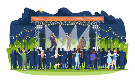 Jazz music festival flat vector illustration. Night retro concert in park. Open air live performance. People having fun at jam session. Rock-n-roll party. Musicians and spectators cartoon characters 일러스트
