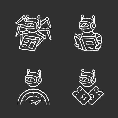 Internet bots chalk icons set. Crawler, text-reading, scalper robot. Artificial intelligence. AI. Software app. Virtual assistant. Computer operation. Isolated vector chalkboard illustrations