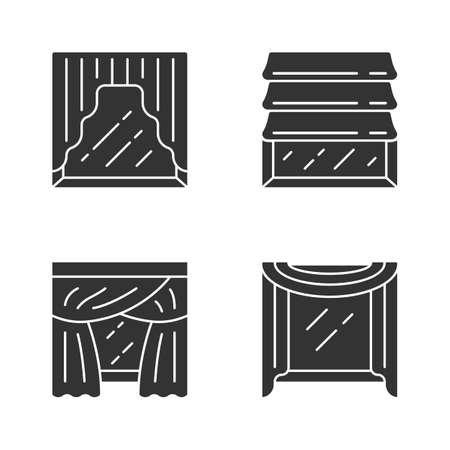 Window drapes glyph icons set. Roman shades, swags, priscilla curtains, window scarf. Home interior decor. Kitchen, bedroom, living room decoration. Silhouette symbols. Vector isolated illustration