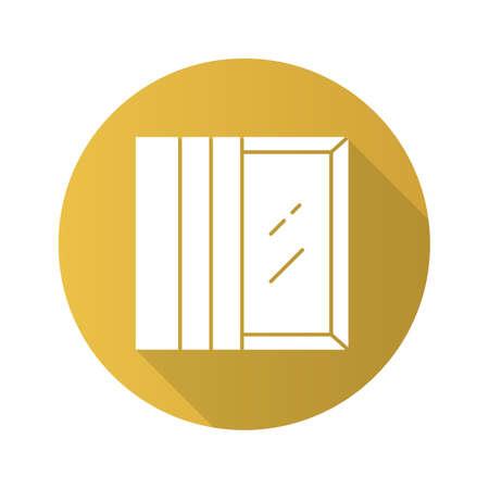 Panel tracks flat design long shadow glyph icon. Vertical window coverings. Fabric panels. Kitchen decoration. Office window view. Home interior. Vector silhouette illustration Illusztráció