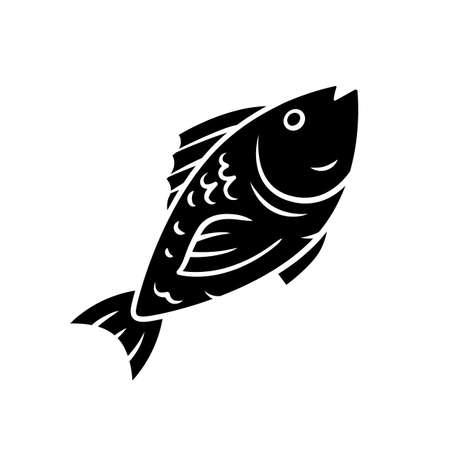 Fish glyph icon. Cafe, restaurant menu. Fish species. Underwater sea animal, seafood. Carp, tuna dish. Healthy nutrition. Diet food. Silhouette symbol. Negative space. Vector isolated illustration Standard-Bild - 128694244