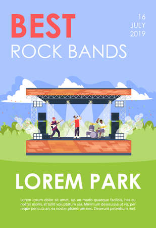 Best rock bands brochure template. Musical concert in park flyer, booklet, leaflet concept with flat illustrations. Vector page layout for magazine. advertising invitation with text space Ilustração