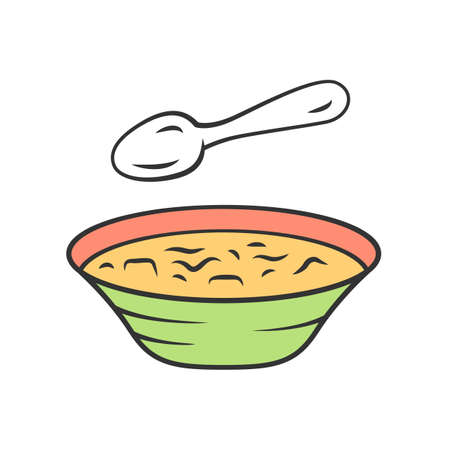 Soup color icon. Bowl and spoon, kitchenware. Hot steaming soup plate. First meal. Healthy diet. Nutritious meal. Bistro, restaurant, cafe menu. Isolated vector illustration