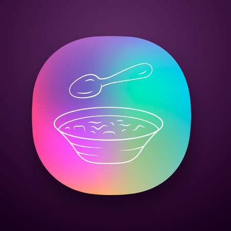 Soup app icon. Bowl and spoon, kitchenware. Hot steaming soup plate. First meal. Healthy diet. Bistro, restaurant menu. UI/UX user interface. Web or mobile application. Vector isolated illustration