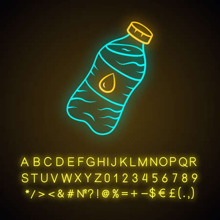 Mineral water neon light icon. Clean potable drinking water. Plastic bottle with label. Non-alcoholic refreshment drink. Glowing sign with alphabet, numbers and symbols. Vector isolated illustration Illustration