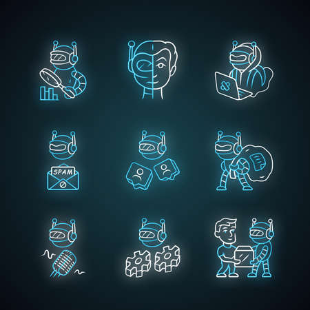 Internet bots neon light icons set. Hacker, voice, spam, impersonator, monitoring, work, scraper robots. Artificial intelligence. Cyborgs, malicious bots. Glowing signs. Vector isolated illustrations