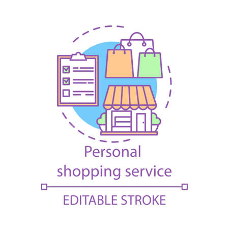 Personal shopping service concept icon. Home service idea thin line illustration. Stylist, fashion designer. Accompanying shopping. Assistant and consultant. Vector isolated drawing. Editable stroke