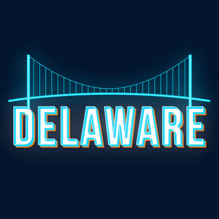 Delaware vintage 3d vector lettering. Retro bold font, typeface. Pop art stylized text. Old school style neon light letters. 90s, 80s poster, banner typography design. Prussian color background