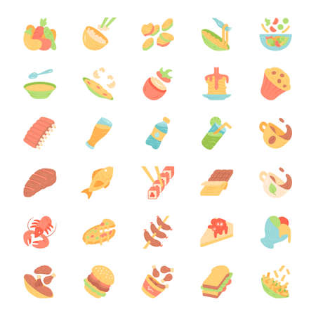 Menu dishes flat design long shadow color icons set. Salads, first meal, main dishes. Burgers, pizza, beverages, desserts. Fast food, restaurant, cafe, bistro meal. Vector silhouette illustrations