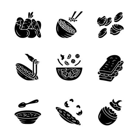 Restaurant menu dishes glyph icons set. Salads, soup, main dishes. Rice, grilled vegetables, omelette, pasta, sandwich. Nutritious food. Silhouette symbols. Vector isolated illustration