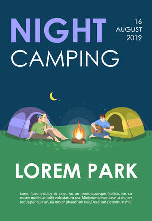 Night camping brochure template. Nature recreation flyer, booklet, leaflet concept with flat illustrations. Vector page layout for magazine. Outdoor adventure advertising invitation with text space Stock Vector - 128695522