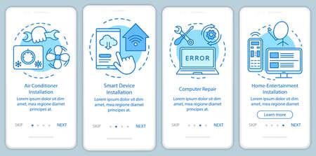 Services à domicile pour appareils électroniques intégrant l'écran de la page de l'application mobile avec des concepts linéaires. Instructions graphiques en quatre étapes. Réparation d'ordinateur. UX, UI, modèle vectoriel GUI, illustrations