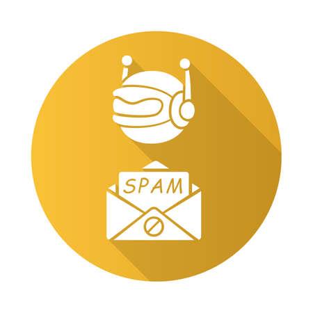 Spambot flat design long shadow glyph icon. Virus advertisements, links. Spam bot. Malicious phishing sites. Spam advertising software sending. Internet spammer. Vector silhouette illustration