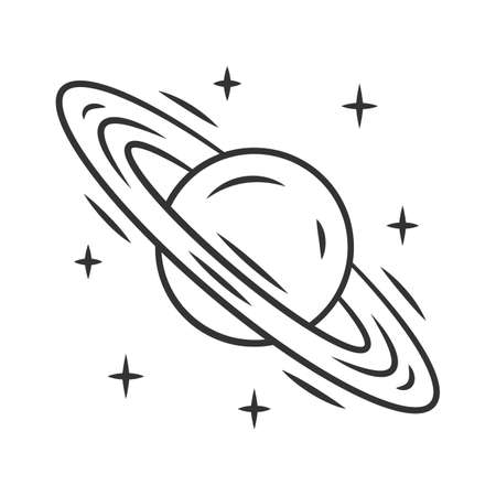 Saturn linear icon. Planet with rings. Gas giant. Planetary science. Solar system. Celestial object. Thin line illustration. Contour symbol. Vector isolated outline drawing. Editable stroke