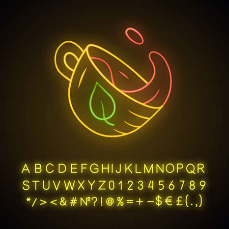 Tea cup neon light icon. Hot steaming mug with splash. Tea shop, dishware. Leaf emblem on cup. Aromatic beverage. Glowing sign with alphabet, numbers and symbols. Vector isolated illustration 向量圖像