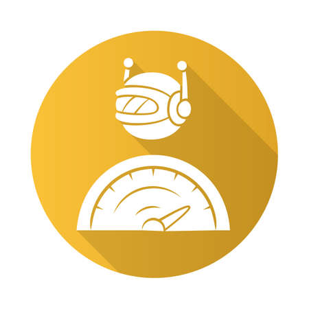 Optimizer bot flat design long shadow glyph icon. Search engine optimization. Software program. Computer operation. Artificial intelligence. Virtual assistance. Vector silhouette illustration