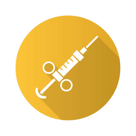 Adrenaline syringe flat design long shadow glyph icon. Game treatment, cure. Medical aid, injection for player. Game equipment, inventory. Drugs, insulin, immunization. Vector silhouette illustration  イラスト・ベクター素材